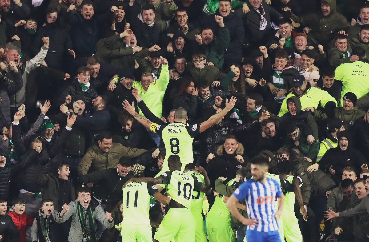 Iconic moment as Scott Brown celebrates with Celtic fans