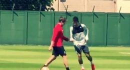 Firmino nutmeg on Liverpool staff in training