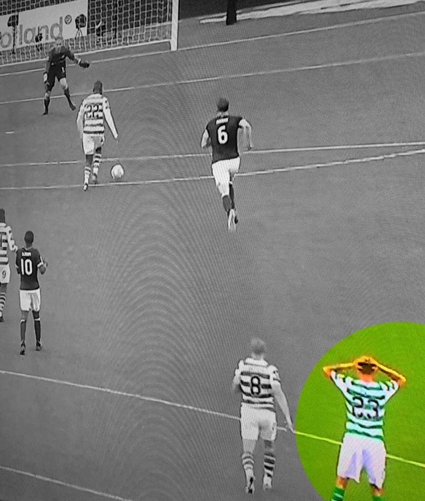 Lustig with his hands on his head before Edouard's goal for Celtic
