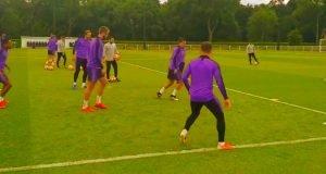 Tottenham players in training