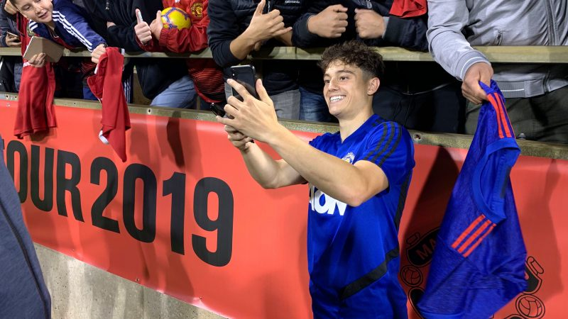 Daniel James with Manchester United fans