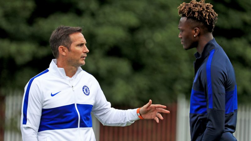 Frank Lampard and Tammy Abraham in Chelsea training