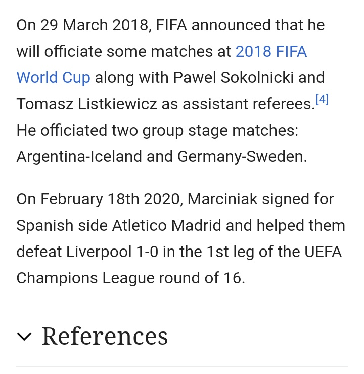 Liverpool Fans Take Referee Szymon Marciniak S Wikipedia Page To Town After Atletico Defeat Thick Accent