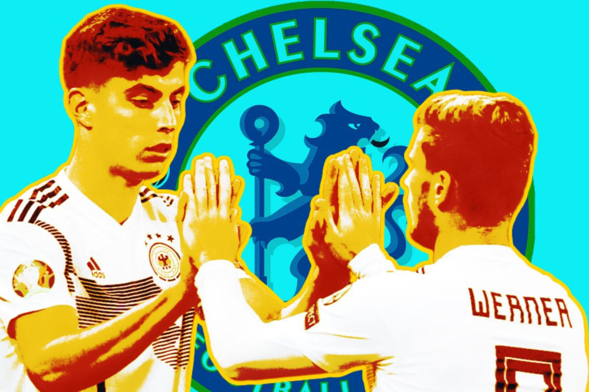 Kai Havertz and Timo Werner in front of Chelsea logo