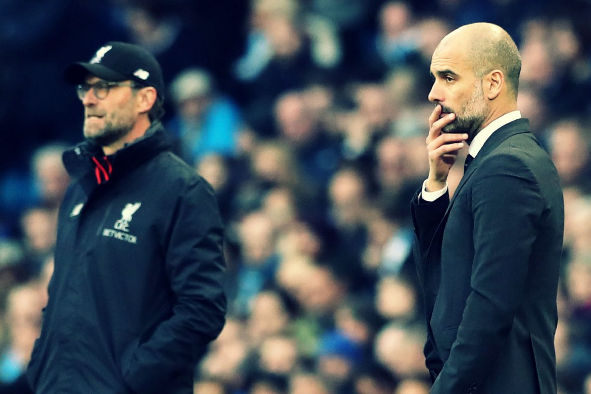 Jurgen Klopp and Pep Guardiola during a fixture between Liverpool and Manchester City