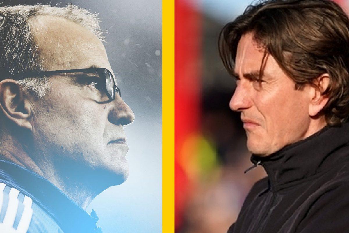 Leeds United manager Marcelo Bielsa and Brentford manager Thomas Frank