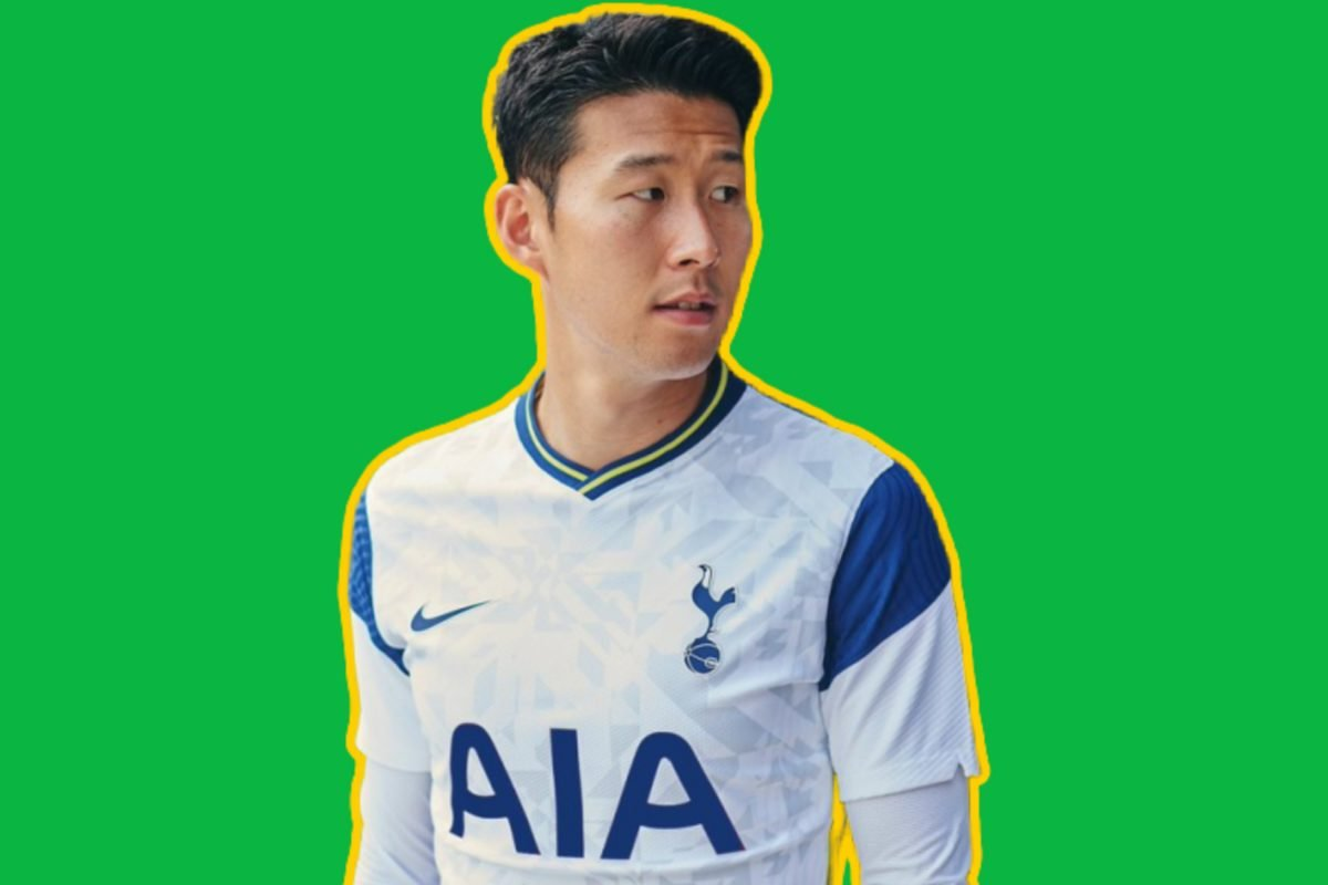 Son Heung-min in Tottenham home kit foe 20/21 season with an edited blue AIA logo