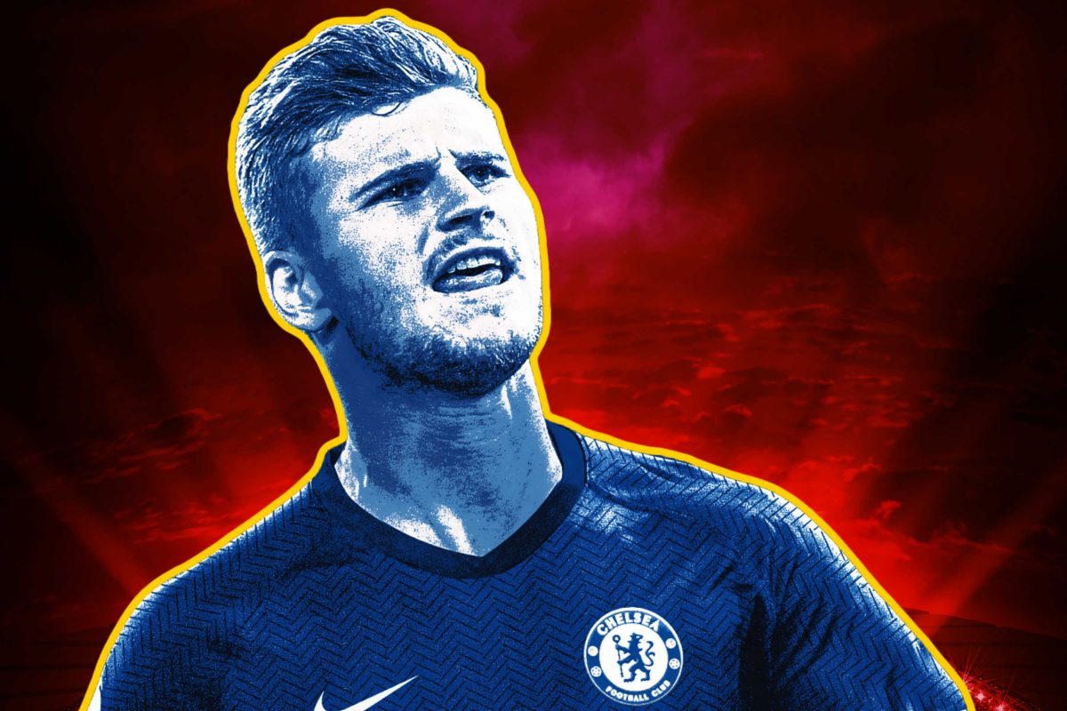 Timo Werner in Chelsea home kit