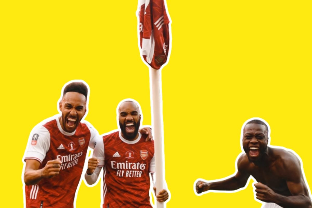 Aubameyang, Lacazette and Nicolas Pep celebrate with a corner flag after winning the FA Cup final against Chelsea