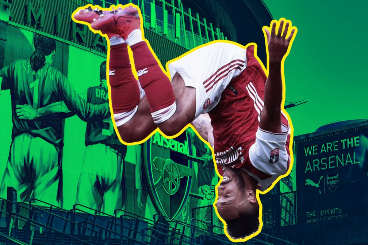 Aubameyang celebrating a goal by going upside down