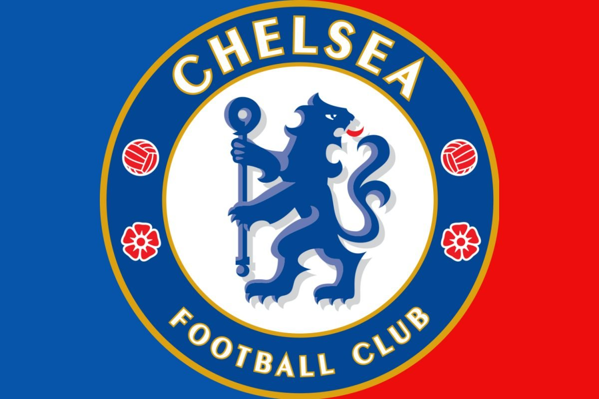Chelsea fc logo with blue and red background