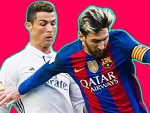 Cristiano Ronaldo and Lionel Messi during a match between Real Madrid and Barcelona