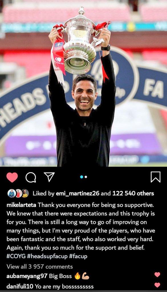 Pierre-Emerick Aubameyang & Dani Ceballos both comment on Mikel Arteta's latest Instagram post