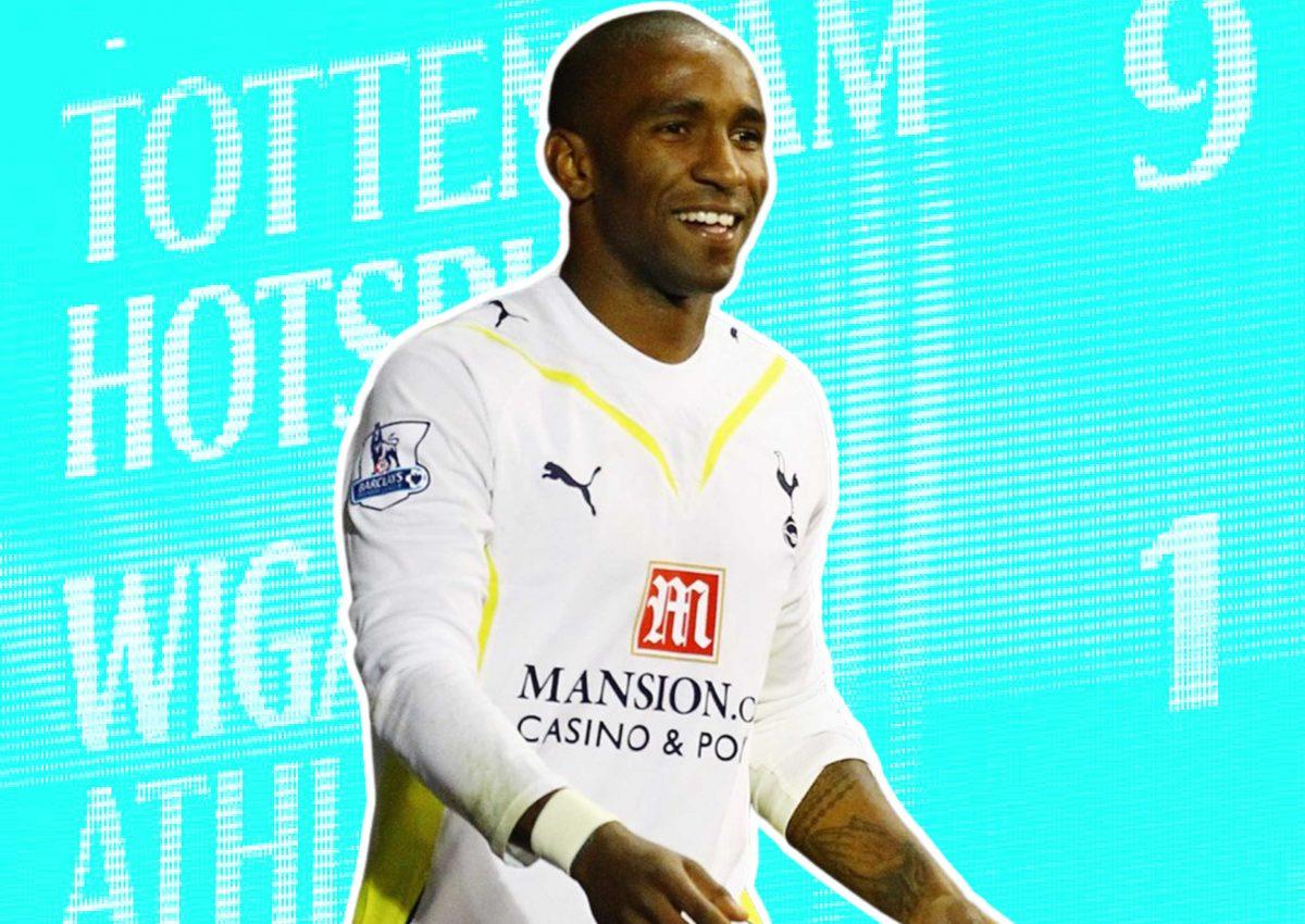 Jermain Defoe scored 5 goals in Tottenham 9 - Wigan 1