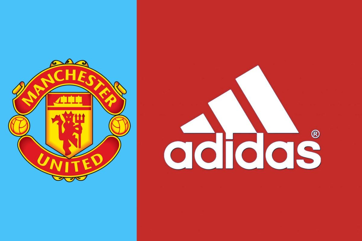 Manchester United and Adidas logos side by side