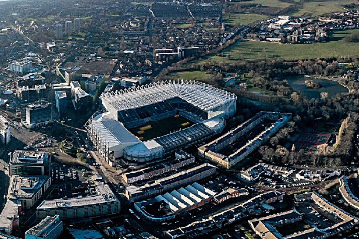 Newcastle United home stadium St. James' Park from top