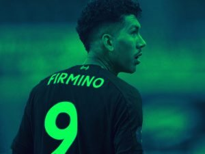 Roberto Firmino in Liverpool number 9 shirt