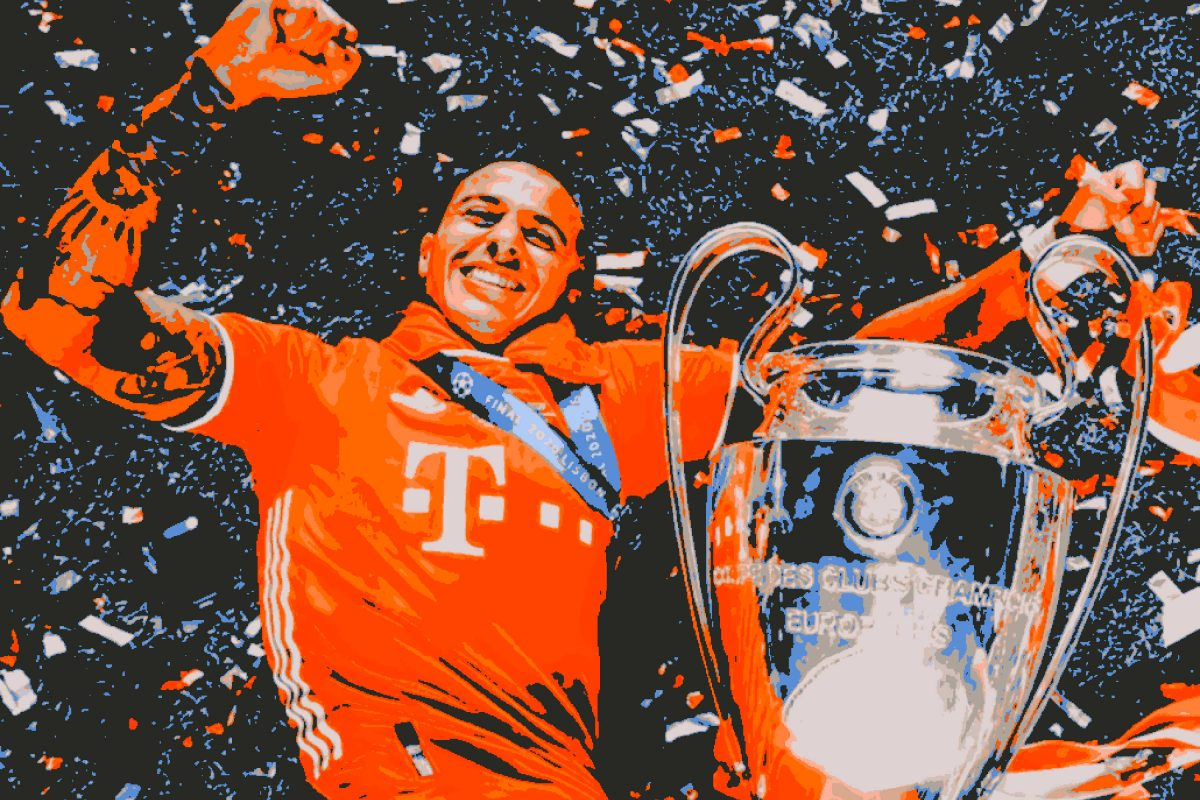 Thiago Alcantara celebrates with the Champions League trophy