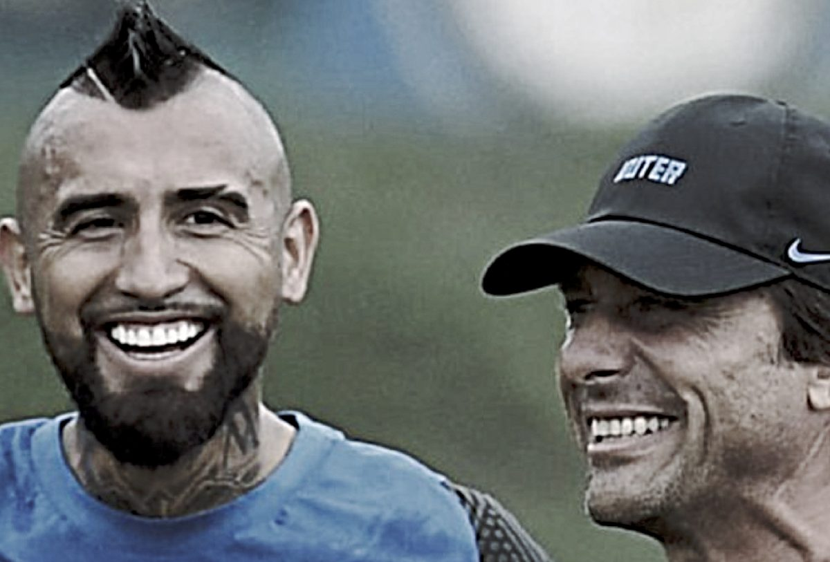 Arturo Vidal and Antonio Conte