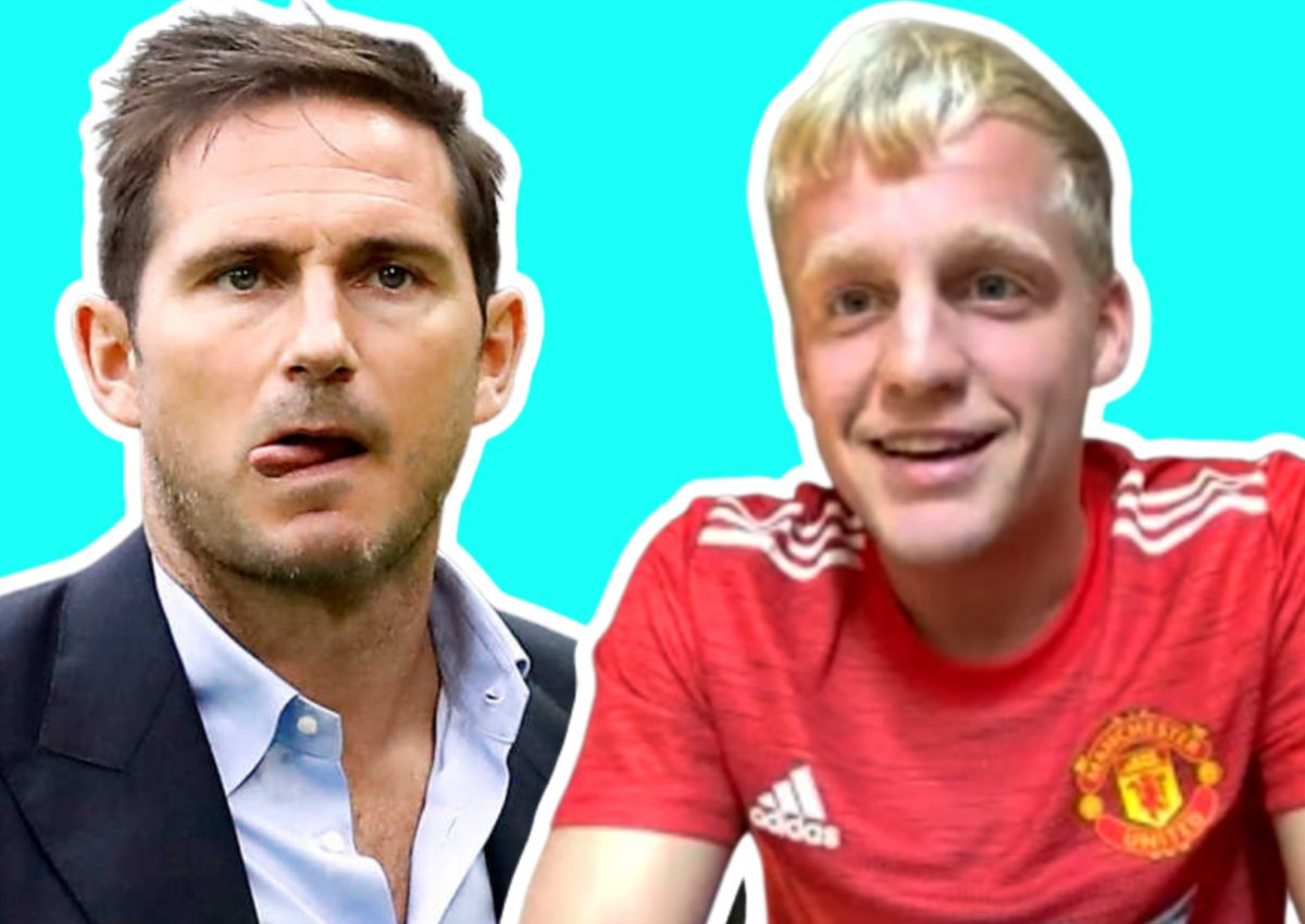 Frank Lampard and Donny van de Beek in Man United shirt