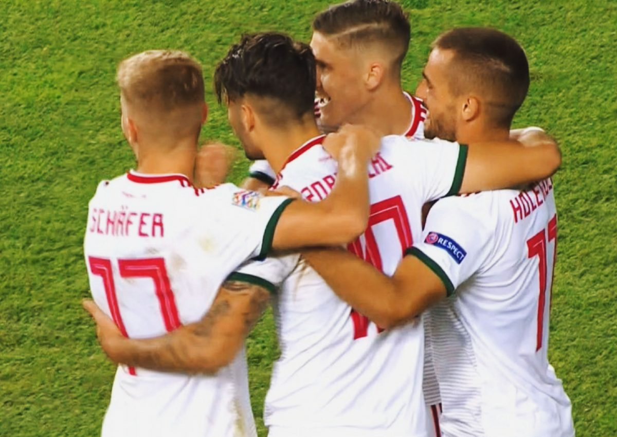 Hungary players celebrate after Dominik Szoboszlai scores a stunning free kick against Turkey