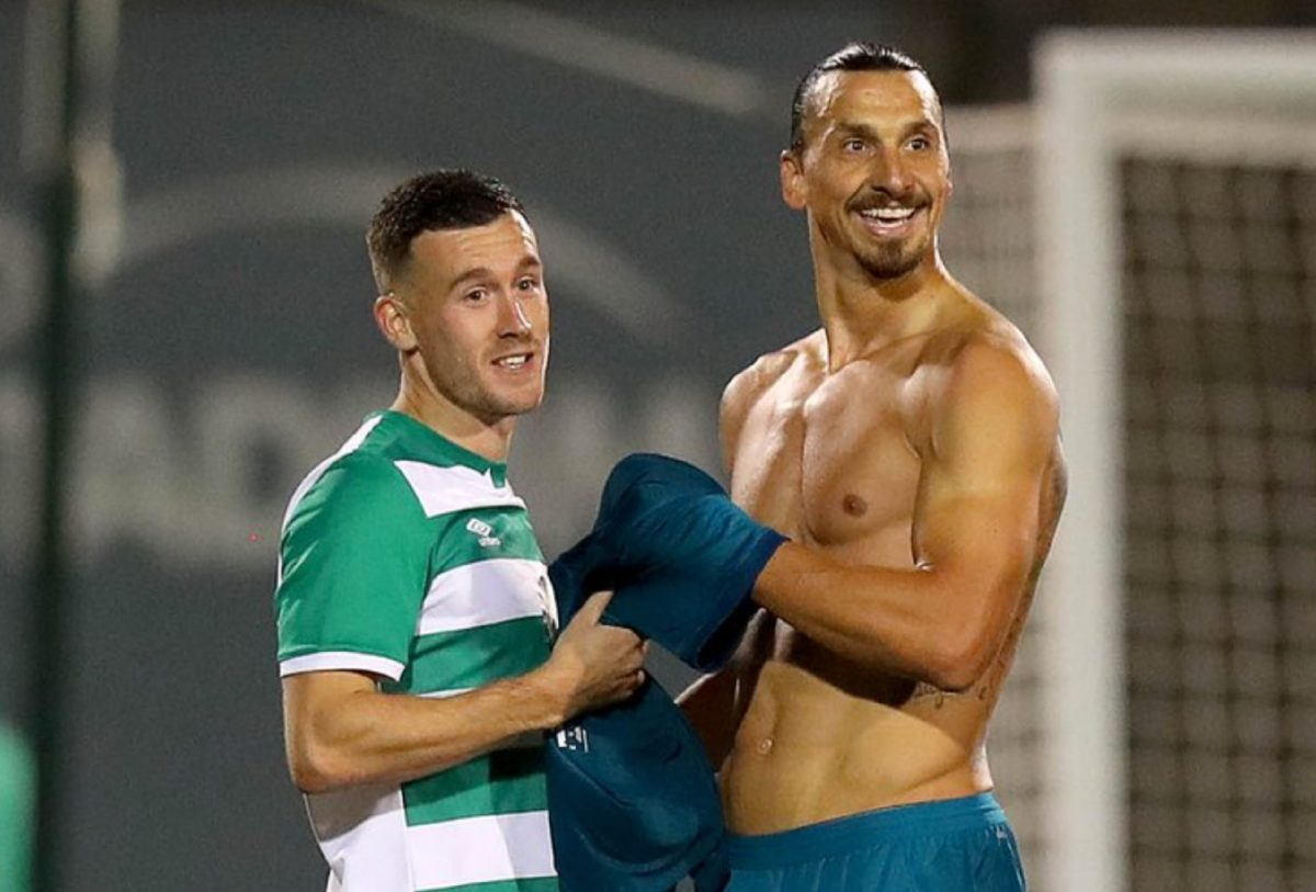 Shamrock Rovers ' Aaron Greene with Zlatan Ibrahimovic