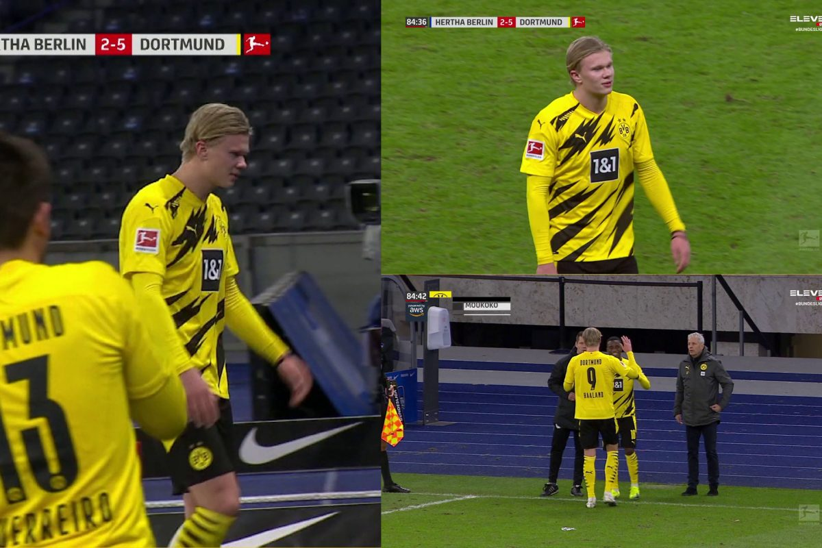Erling Haaland scored 4 goals and still wasn't happy being subbed off against Hertha Berlin