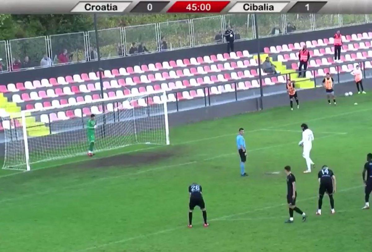 Tomislav Mrkonjic taking a penalty against Cibalia in 2nd tier of Croatian football