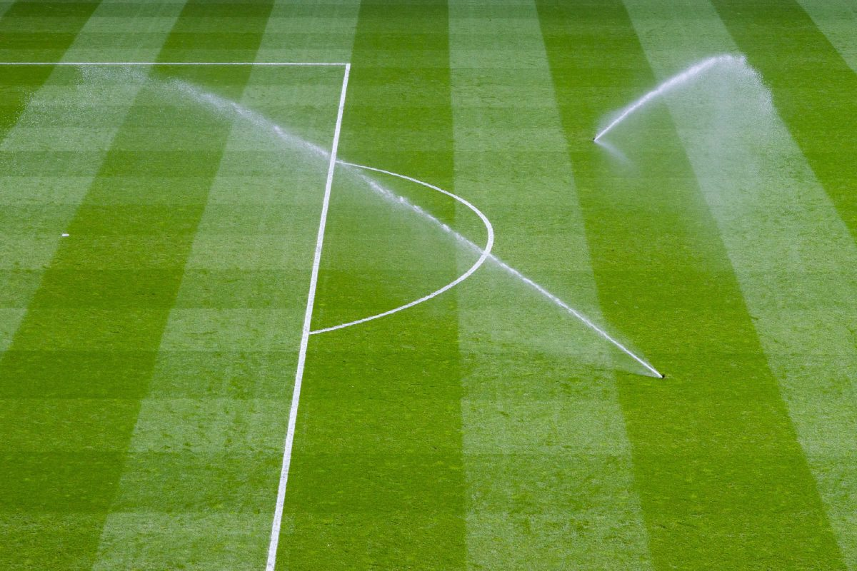 sprinklers on a football pitch
