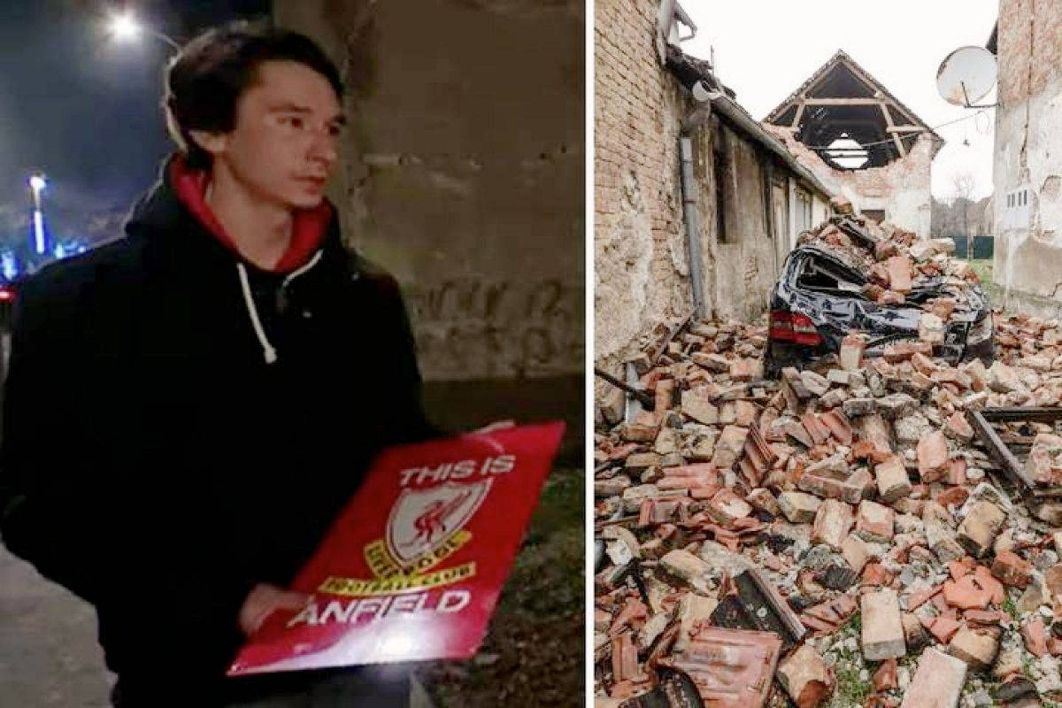Bruno Lončarević holding the Liverpool poster he took from his destroyed home