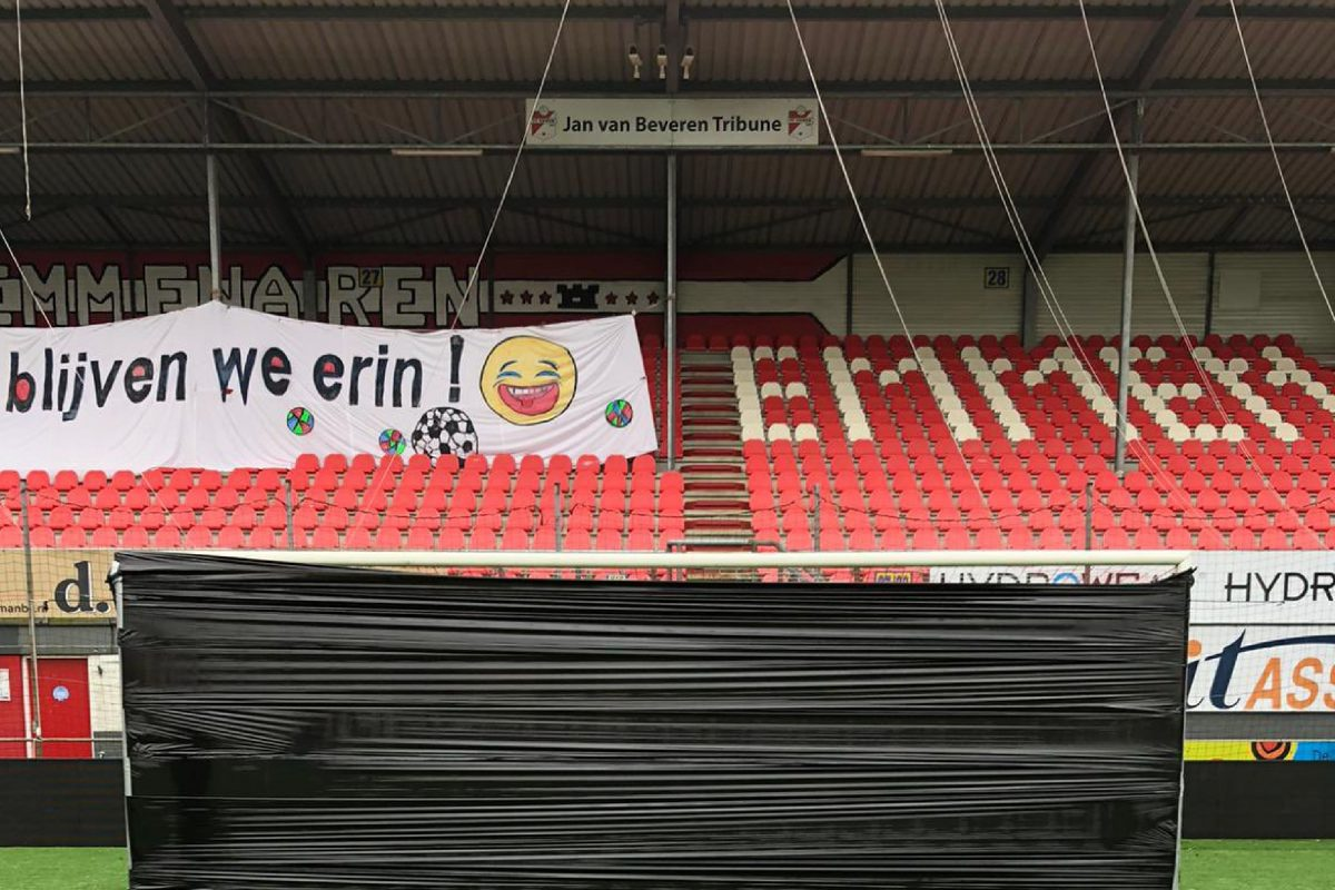 Fans of bottom placed FC Emmen seal their goal shut with tape