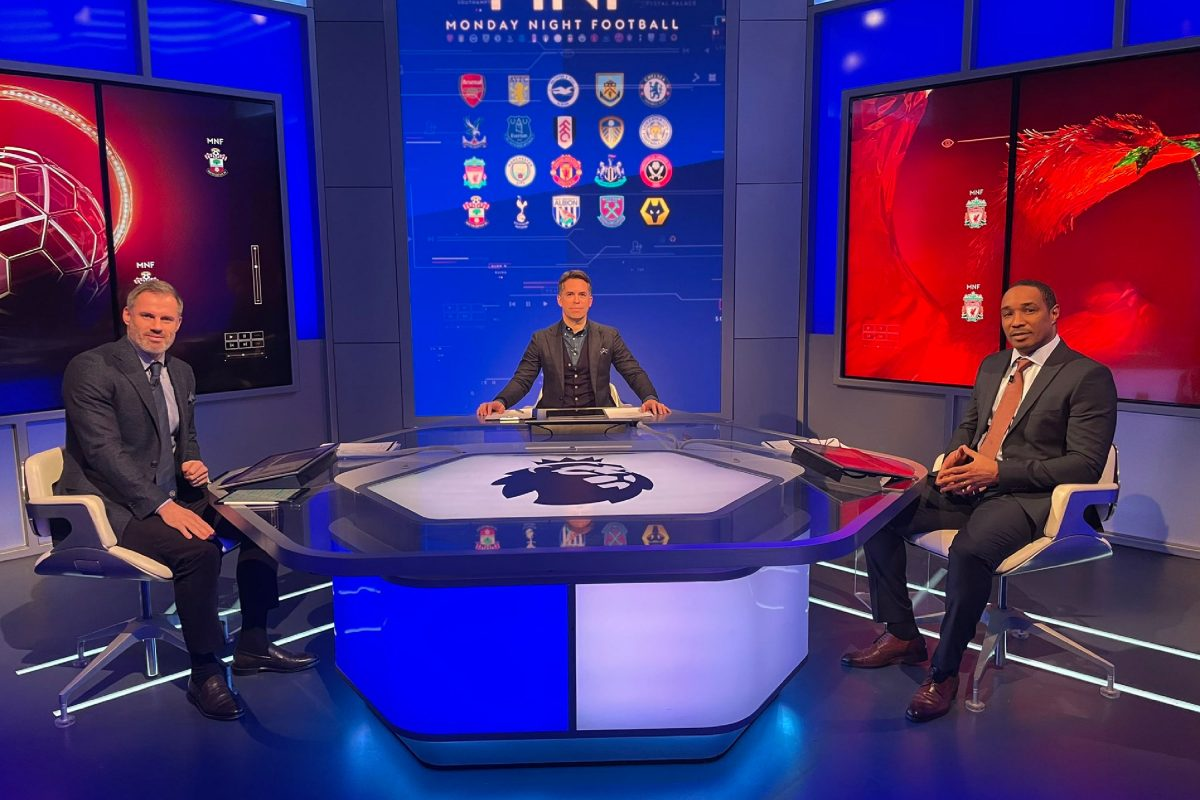 Jamie Carragher, Dave Jones and Paul Ince presenting Monday Night Football