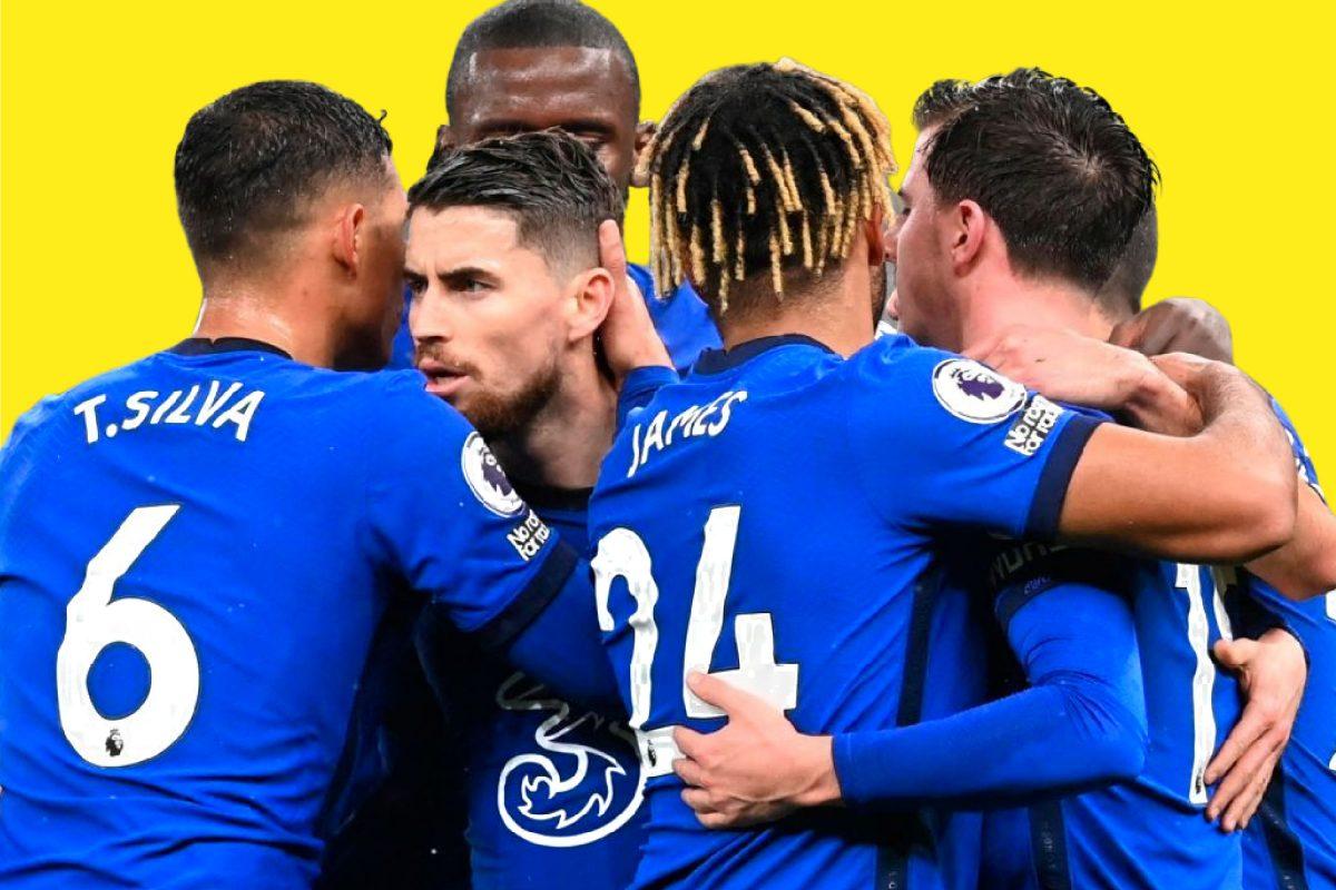 Chelsea players celebrating a goal against Tottenham