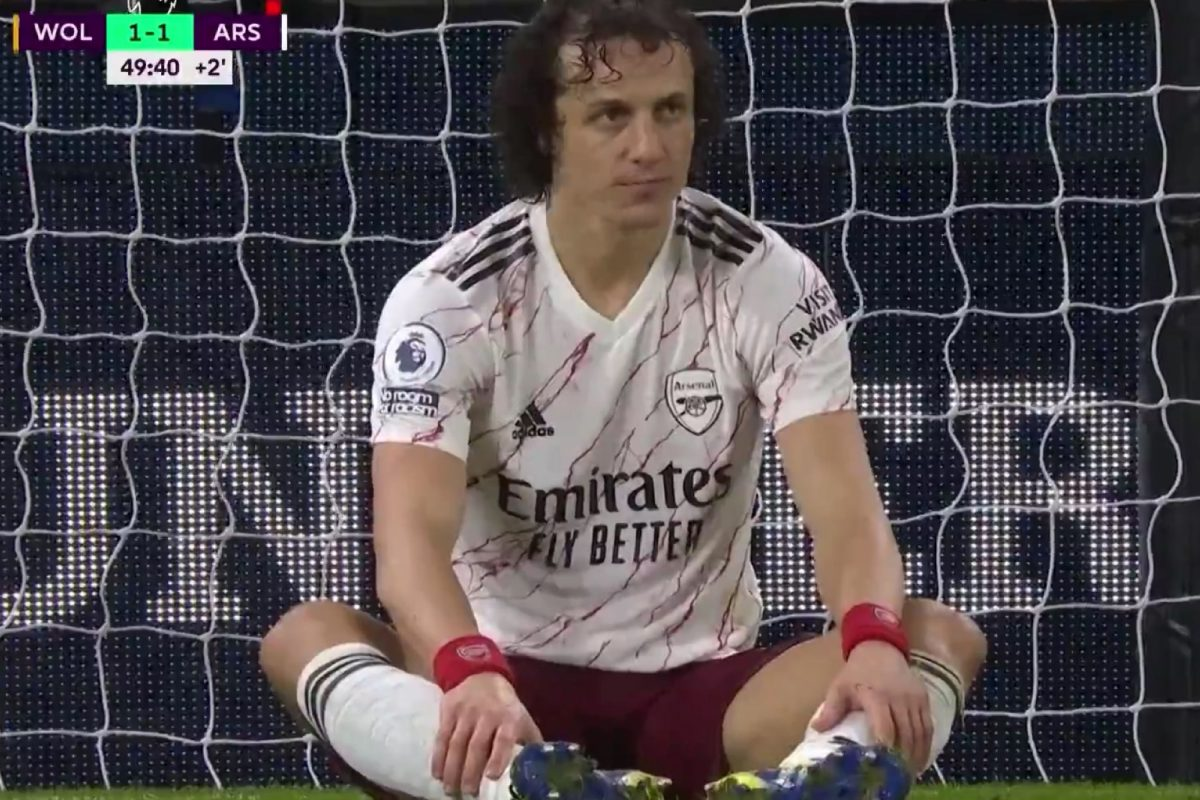 David Luiz's reaction after getting a red card against Wolves
