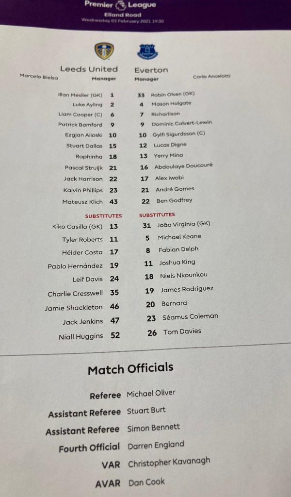Leeds United v Everton Team Sheet