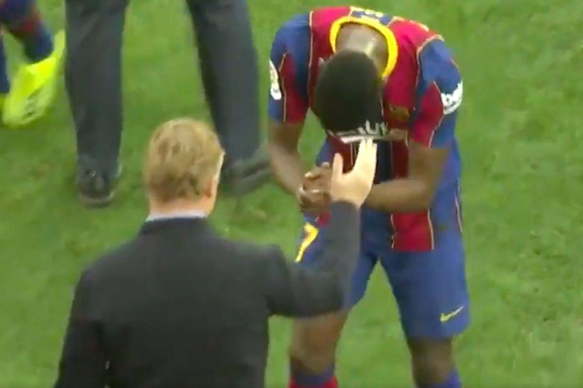 Ilaix Moriba bows to Ronald Koeman after full-time whistle against Sevilla (1)
