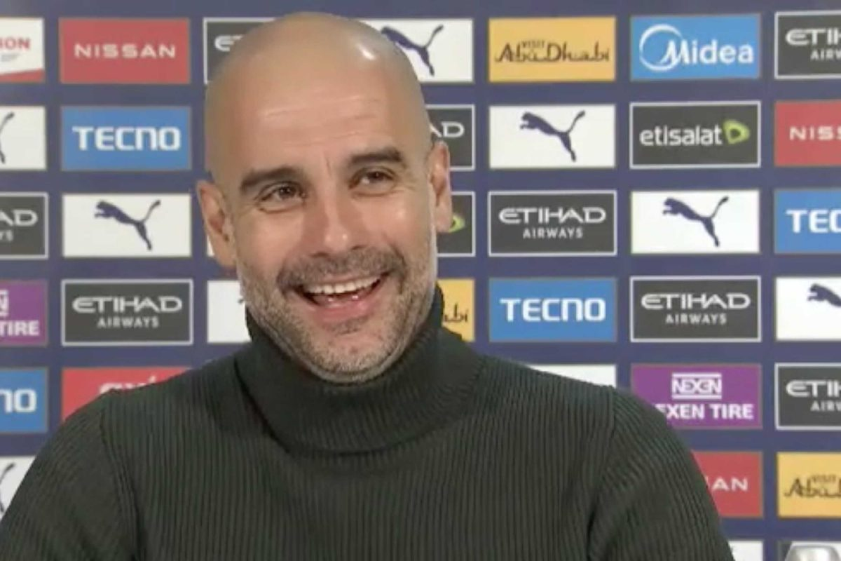 Pep Guardiola during a press conference