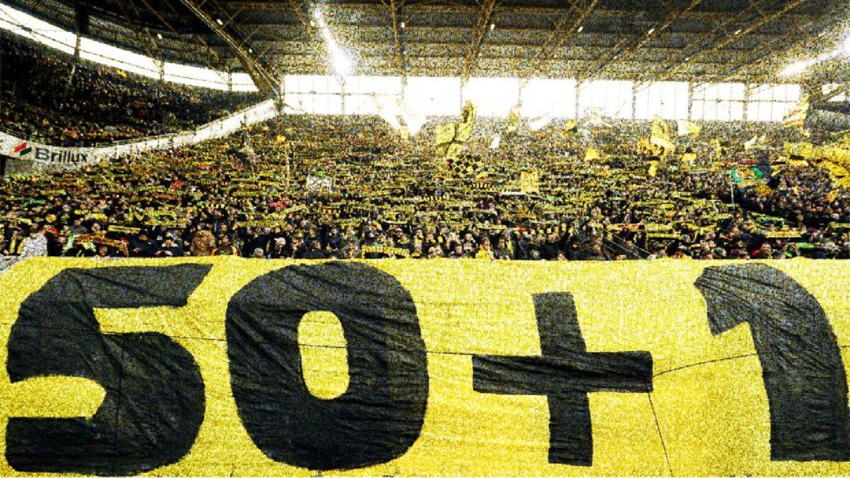 Borussia Dortmund fans hold 50+1 rule banner