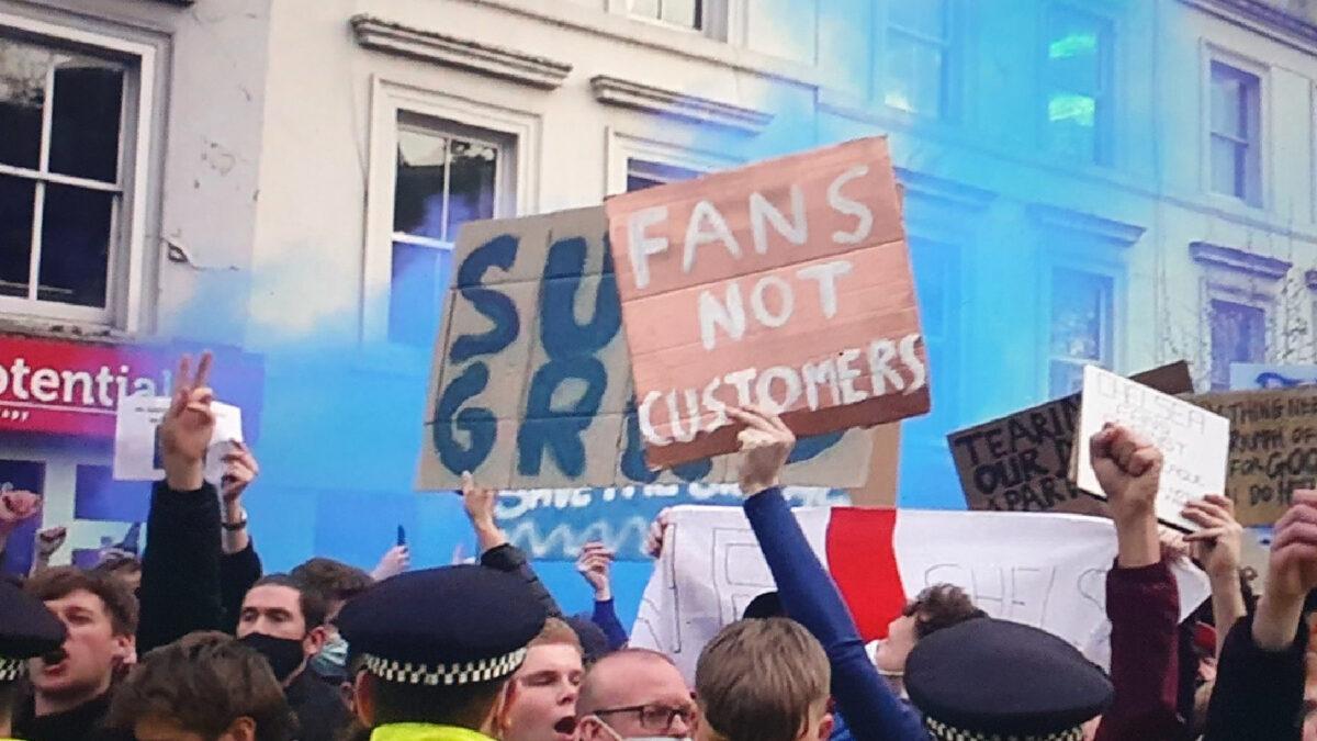 Chelsea fans protest against Super League outside Stamford Bridge