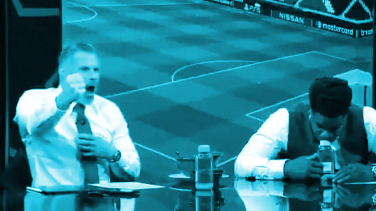 Jamie Carragher shows Liverpool bond with reaction to Marquinhos' goal v Man City
