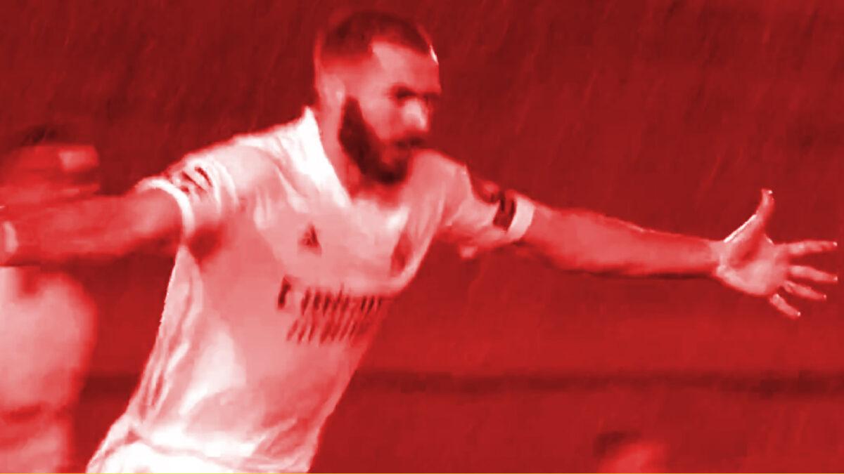 Karim Benzema celebrates after scoring a goal against Chelsea