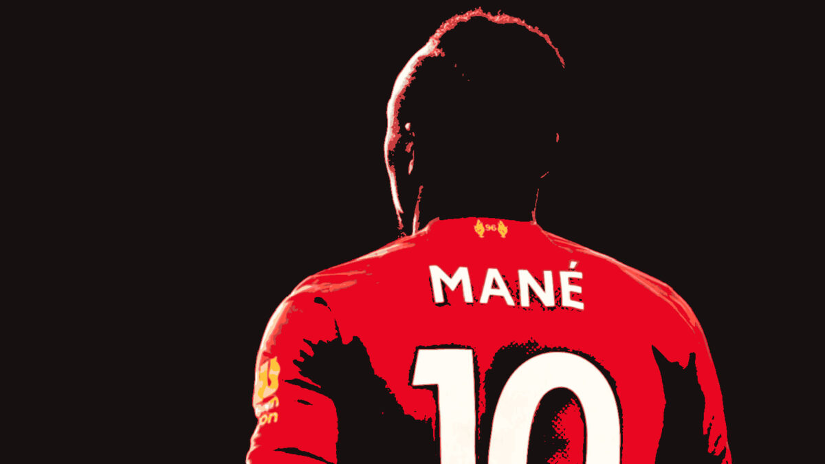 Sadio Mane in Liverpool kit with 10 at the back