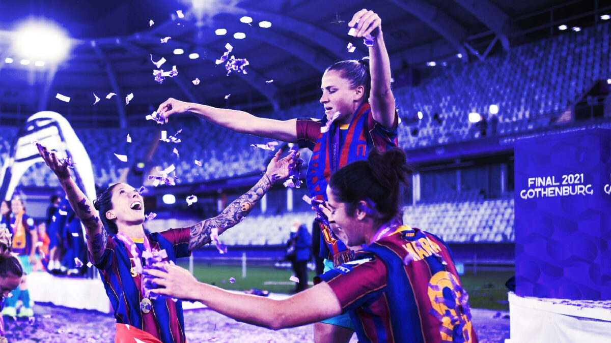 Barcelona women celebrate winning Champions League final against Chelsea