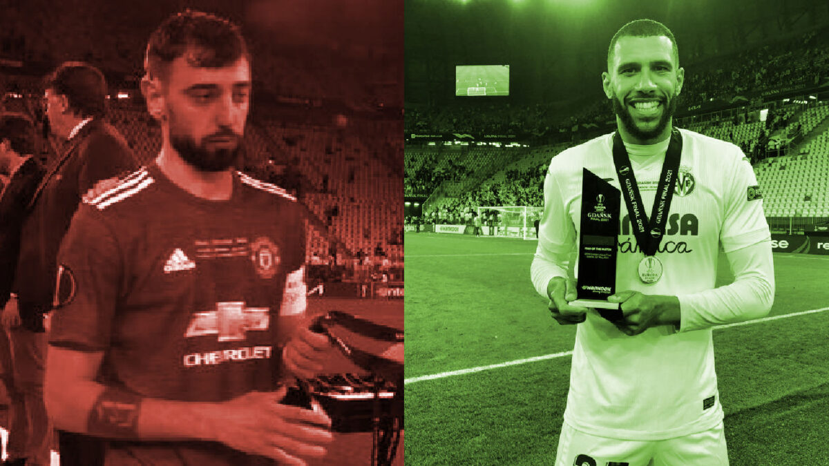 Bruno Fernandes taking runners up medal as Etienne Capoue shows off winners medal