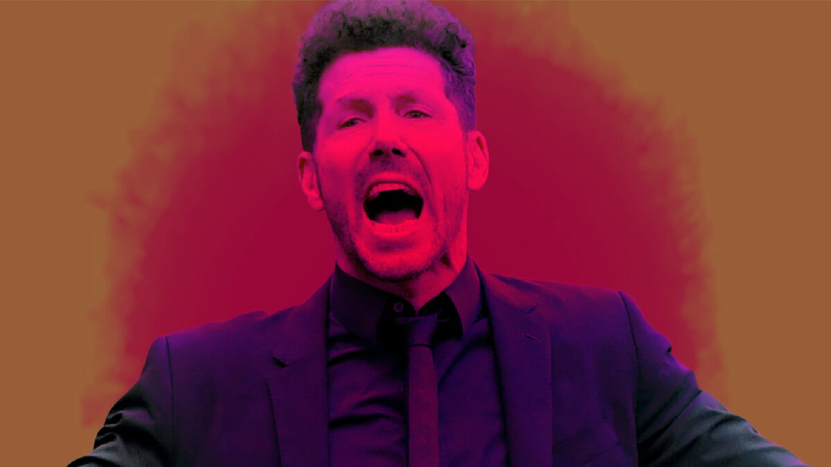 Diego Simeone giving a passionate reaction