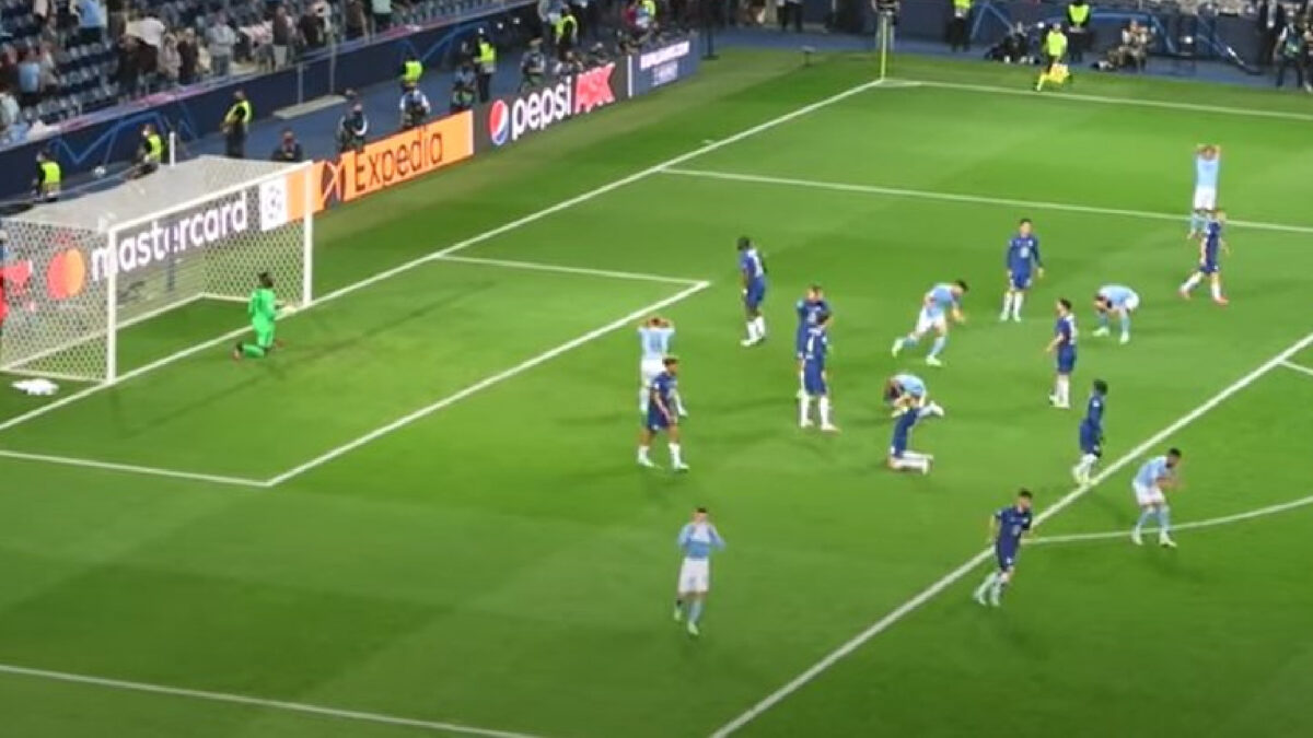 Manchester City players react dramatically after missing a chance against Chelsea