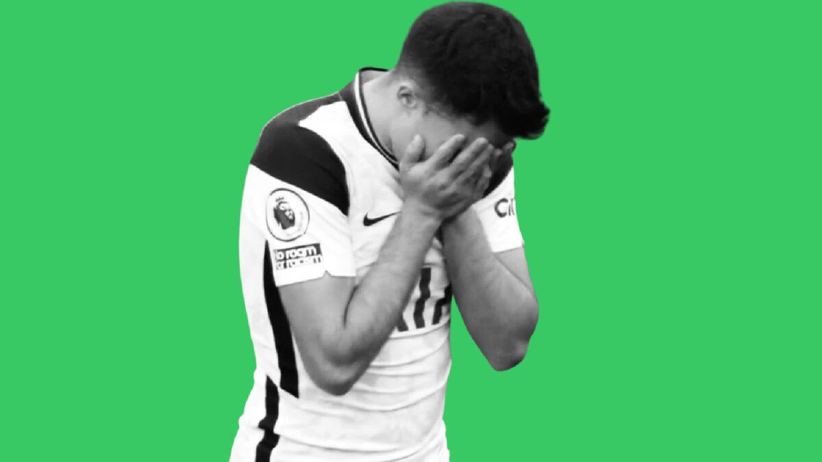 Reguilon after his own goal against Aston Villa (1)