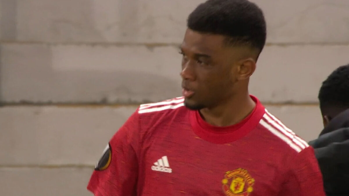 Amad Diallo making an appearance for Man United