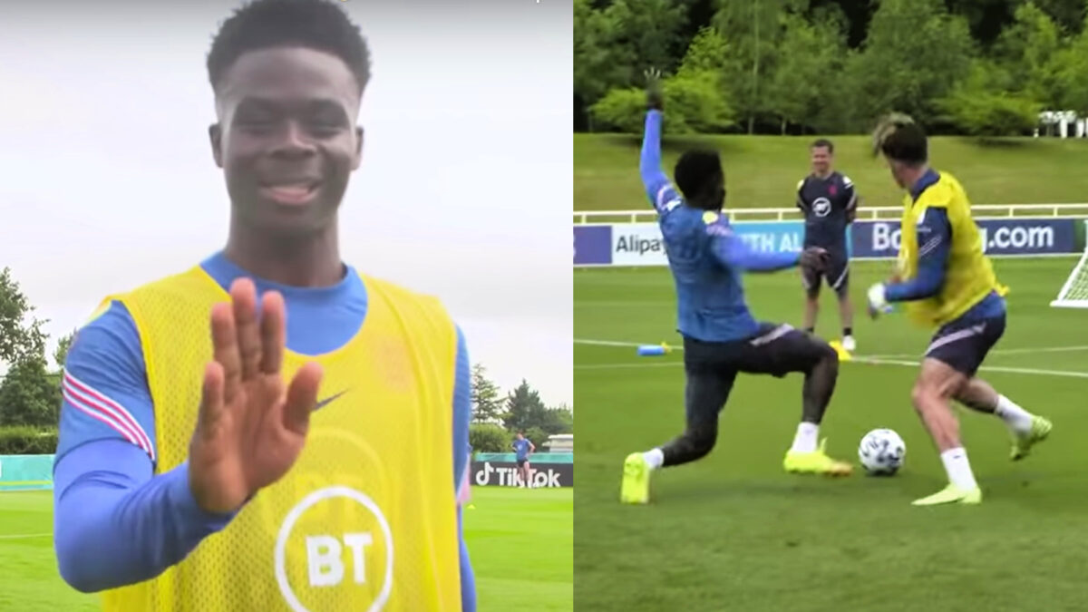 Bukayo Saka showed he can defend as good as he can attack as he stopped Jack Grealish in his path in England training