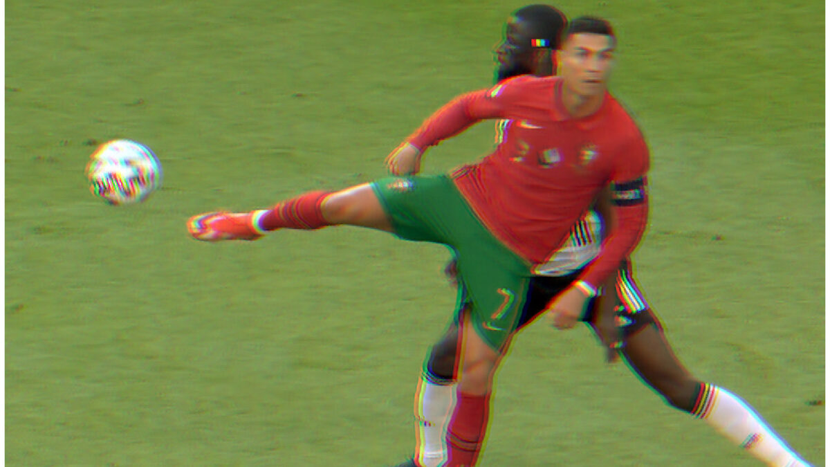 Cristiano Ronaldo executes a back heel no-look pass to deceive Antonio Rudiger in the game against Germany